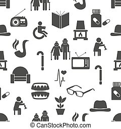 pensioner senior citizen theme set of icons seamless pattern...