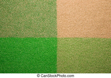 Green and orange wool plaid texture macro shot - Soft and...