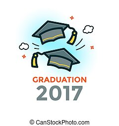 Graduation vector illustration - Two graduation caps thrown...
