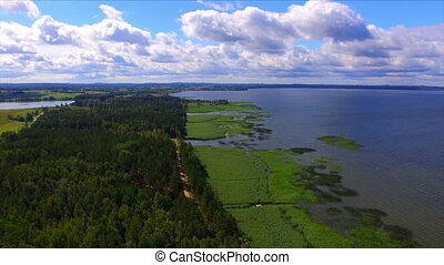 Aerial view of lake and national park Razna in Latvia at...