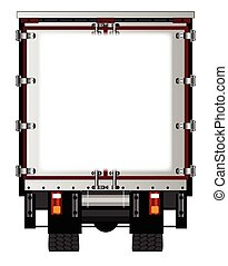 Rear Lorry Copy Space - The rear end of a large lorry over a...