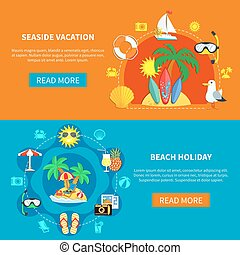Holidays At Seaside Banners - Vacation travel flat...