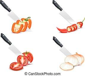 Knife Chopping Vegetable 3D Design Set - Knife chopping...