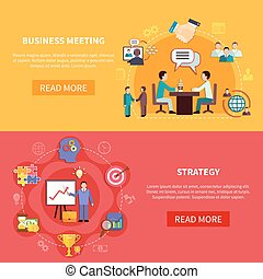 B2B Meetings Horizontal Banners - Business banners set with...