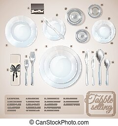 Table Setting Infographics - Table setting top view...