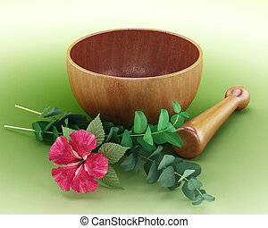 Mortar, pestle and flower isolated on green background. 3D...
