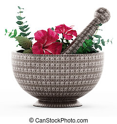 Mortar, pestle and flower isolated on white background. 3D...