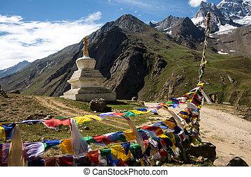 Stupa and prayer flag