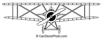 Biplane Isolated Outline - A WWI RFC fighter plane in...