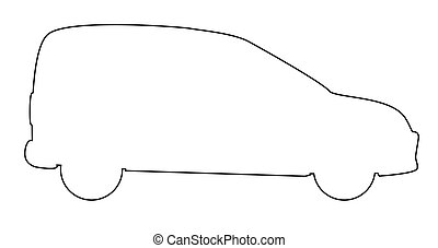 Small Delivery Van Outline - A small white logistics courier...