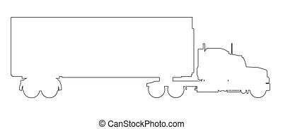 Large Lorry Outline - A large lorry in black outline on a...