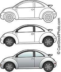 Modern car technical draw - Hand drawn sketch of a modern...