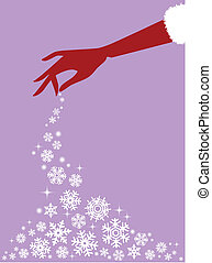 red hand with snowflakes, vector - female hand with falling...