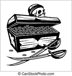Open Pirate Chest With Golden Coins and skull - vector...