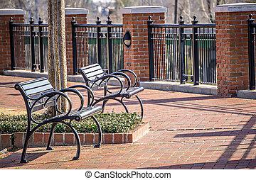 cidade, parque, Bancos, vazio, primavera