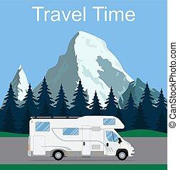 Caravan van driving on the road.
