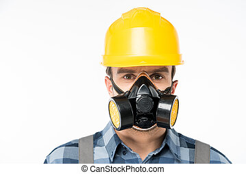 Workman in protective workwear - Close-up portrait of...