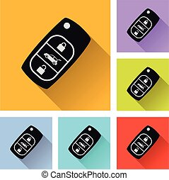 six car key icons - Illustration of six car key icons