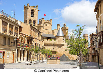 Olite in Navarra, Spain - Medieval village of Olite in...