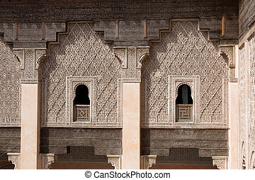Inner court of the Ben Youssef Madrasa. A former Islamic...