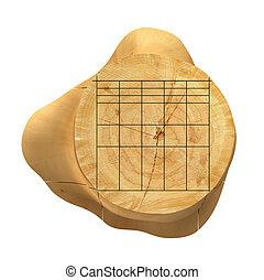 Sliced Lumber from the log. 3d illustration