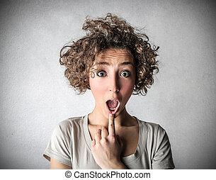 Suprised woman - Woman being suprised in studio