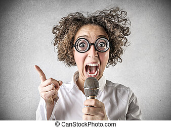 Woman with microphone - Crazy woman talking with microphone