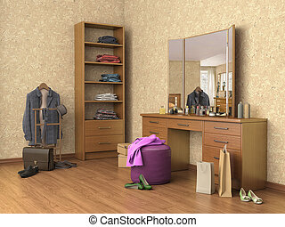 room with console mirror, boxes and shoes, shelves, 3d...