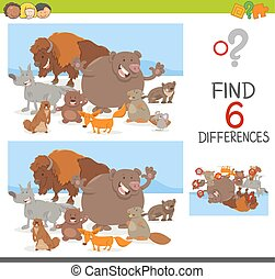 spot differences game with animals - Cartoon Illustration of...