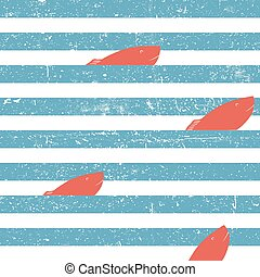 Marine background with red fish seamless. Blue lines seamless pattern.