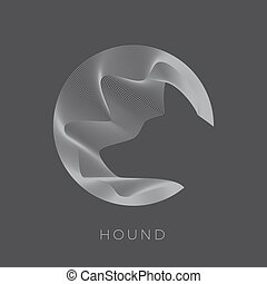 Abstarct Vector Dog Sign, Emblem or Logo Template. Hound Head Silhouette. Negative Space Illustration in Line Circle.