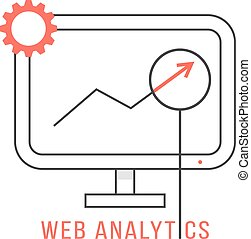 red and black web analytics icon. concept of analyze,...