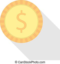 simple dollar coin with long shadow. concept of fundraiser,...