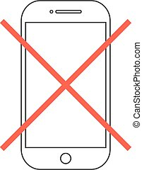 outline smartphone with red cross. concept of protest,...