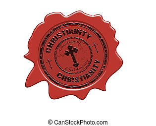 Christianity wax seal - Wax seal with the text Christianity,...