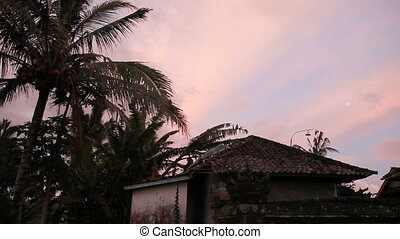 the silhouettes of the houses with traditional Balinese...