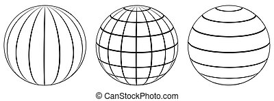 Set spheres globe earth grid, latitude longitude - Set...