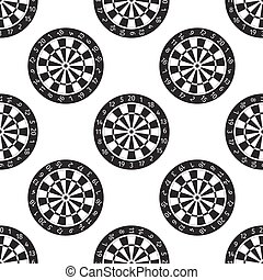 Classic Darts Board with Twenty Black and White Sectors icon pattern