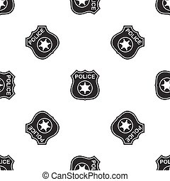 Police badges icon seamless pattern on white background....