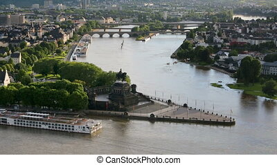 Koblenz Deutsches Eck Aerial View - High angle view of...