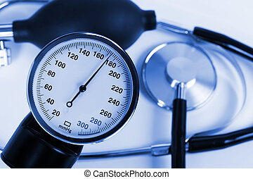 Scale of pressure and stethoscope, medical background