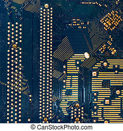Green motherboard circuit - detail of the back of a...