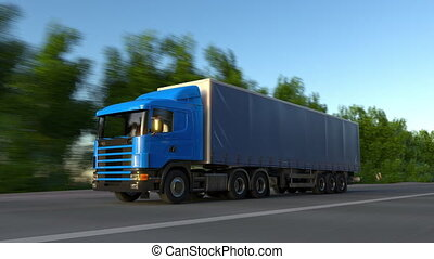 Speeding freight semi truck. Road cargo transportation....