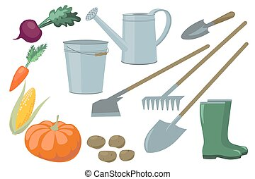Farm Garden inventory set items elements and vegetables...