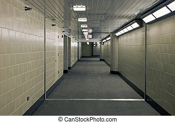 Corridor in underground garrage - Long Corridor in...