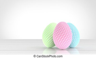Easter eggs with pastel colors. 3D illustrated