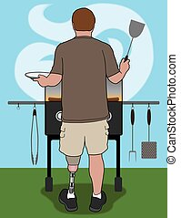 Amputee Barbecuer - Left leg amputee is barbecuing in his...