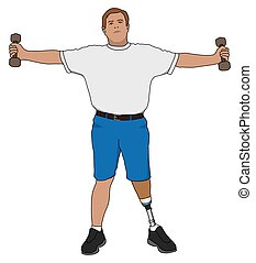 Amputee Exercising With Weights - Left leg amputee is using...