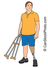 Amputee Holding Crutches - Left leg amputee is holding a...