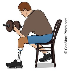 Amputee Lifting Weight - Left leg amputee is exercising with...